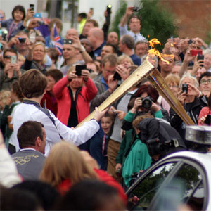 The Olympic torch handover outside the New Inn pub